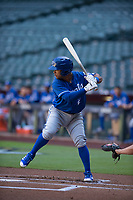 Kansas City Royals second baseman Ricky Aracena (2) at bat during an Instructional League game against the Arizona Diamondbacks at Chase Field on October 14, 2017 in Scottsdale, Arizona. (Zachary Lucy/Four Seam Images)