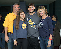 BERKELEY, CA - Feb. 18, 2017: Cal's Jonathan Fiepke with his family on Senior Day.  Cal Men's Swimming and Diving competed against Stanford at Spieker Aquatics Complex.