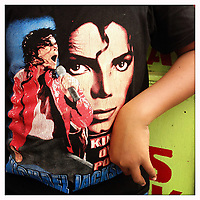 A child's t-shirt depicting US singer Michael Jackson, in Jakarta, Indonesia.