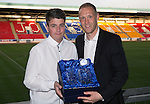 St Johnstone Player of the Year Awards 2014-15.....16.05.15<br /> Jordan Brown presents the We Are Perth Legend Award to Steven Anderson<br /> Picture by Graeme Hart.<br /> Copyright Perthshire Picture Agency<br /> Tel: 01738 623350  Mobile: 07990 594431