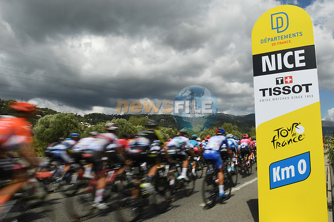 Km0 the start of Stage 3 of Tour de France 2020, running 198km from Nice to Sisteron, France. 31st August 2020.<br /> Picture: ASO/Alex Broadway | Cyclefile<br /> All photos usage must carry mandatory copyright credit (© Cyclefile | ASO/Alex Broadway)
