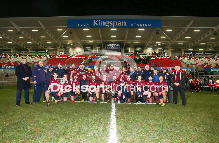 Tuesday 7th January 2020   MMW Junior Cup Final<br /> <br /> Enniskillen captain Gareth Beatty and his team celebrate winning the Millar McCall Wylie Junior Cup after his side defeated Armagh 2s in the final at Kingspan Stadium, Belfast. Photo by John Dickson / DICKSONDIGITAL