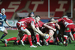 Scarlets scrum half Gareth Davies whips the ball away from the back of the scrum.<br /> Celtic League<br /> Scarlets v Munster<br /> <br /> 01.03.14<br /> <br /> ©Steve Pope-SPORTINGWALES