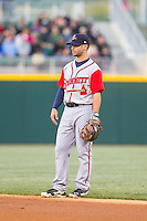 Gwinnett Braves second baseman Tommy La Stella (11) on defense against the Charlotte Knights at BB&T Ballpark on April 16, 2014 in Charlotte, North Carolina.  The Braves defeated the Knights 7-2.  (Brian Westerholt/Four Seam Images)
