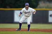 Seth Graves (33) of the Western Carolina Catamounts takes his lead off of first base against the St. John's Red Storm at Childress Field on March 13, 2021 in Cullowhee, North Carolina. (Brian Westerholt/Four Seam Images)