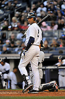 Apr 02, 2011; Bronx, NY, USA; New York Yankees infielder Derek Jeter (2) during game against the Detroit Tigers at Yankee Stadium. Yankees defeated the Tigers 10-6. Mandatory Credit: Tomasso De Rosa