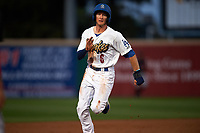 Rancho Cucamonga Quakes left fielder Logan Landon (6) hustles to third base during a California League game against the Lake Elsinore Storm at LoanMart Field on May 19, 2018 in Rancho Cucamonga, California. Lake Elsinore defeated Rancho Cucamonga 10-7. (Zachary Lucy/Four Seam Images)