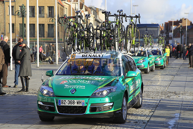 Team Europcar arrive before the start of the 96th edition of The Tour of Flanders 2012 in Bruges Market Square, running 256.9km from Bruges to Oudenaarde, Belgium. 1st April 2012. <br /> (Photo by Eoin Clarke/NEWSFILE).
