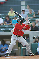 Potomac Nationals outfielder Chris Curran #6 at bat during a game vs. the Myrtle Beach Pelicans at BB&T Coastal Field in Myrtle Beach, SC, on June 16, 2010. The Nationals defeated the Pelicans 13-4. Photo By Robert Gurganus/Four Seam Images