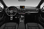 Stock photo of straight dashboard view of 2017 Audi A3 S-Line 4 Door Sedan Dashboard