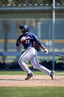 Minnesota Twins Andre Jernigan (33) during a minor league Spring Training game against the Baltimore Orioles on March 17, 2017 at the Buck O'Neil Baseball Complex in Sarasota, Florida.  (Mike Janes/Four Seam Images)