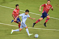 KANSAS CITY, KS - SEPTEMBER 02: Felipe Hernandez #21 of Sporting Kansas City driving into the Dallas penalty box during a game between FC Dallas and Sporting Kansas City at Children's Mercy Park on September 02, 2020 in Kansas City, Kansas.