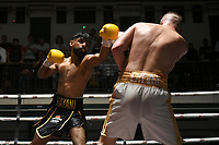 Amar Kayani (black shorts) defeats Kristaps Zulgis during a Boxing Show at York Hall on 11th September 2021