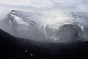 The eastern slopes of Mount Washington in the New Hampshire White Mountains during an extremely windy winter day. Lion Head is on the left.