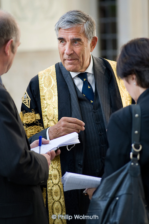 Lord Phillips, President of The Supreme Court, outside the new court in Parliament Square on the day of its inauguration.