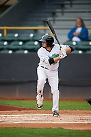 Clinton LumberKings third baseman Joe Rizzo (10) at bat during a game against the Lansing Lugnuts on May 9, 2017 at Ashford University Field in Clinton, Iowa.  Lansing defeated Clinton 11-6.  (Mike Janes/Four Seam Images)