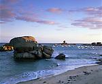 France, Brittany, Tregastel Plage: Dawn,  view along beach on the Pink Granite Coast