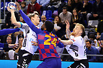 VELUX EHF 2019/20 EHF Men's Champions League Group Phase - Round 8.<br /> FC Barcelona vs Aalborg Handbold: 44-35.<br /> Janus Dadi Smarason, Dika Mem & Rene Antonsen.