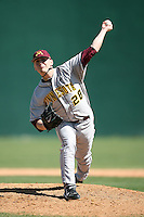 February 21, 2009:  Pitcher Luke Rasmussen (28) of the University of Minnesota during the Big East-Big Ten Challenge at Jack Russell Stadium in Clearwater, FL.  Photo by:  Mike Janes/Four Seam Images