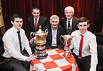 Liam Corry, minor hurling captain; Gerry O' Connor, All-Ireland U-21 hurling manager; Mick O' Dwyer, Clare senior football manager; John O' Halloran, club president, and Jack Keating, U-16 hurling captain, during Éire Óg GAA's medal presentation night at the Auburn Lodge Hotel in Ennis. Photograph by Declan Monaghan