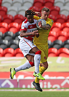 Fleetwood Town's Peter Clarke battles with Doncaster Rovers' Kazaiah Sterling<br /> <br /> Photographer David Shipman/CameraSport<br /> <br /> The EFL Sky Bet League One - Doncaster Rovers v Fleetwood Town - Saturday 17th August 2019  - Keepmoat Stadium - Doncaster<br /> <br /> World Copyright © 2019 CameraSport. All rights reserved. 43 Linden Ave. Countesthorpe. Leicester. England. LE8 5PG - Tel: +44 (0) 116 277 4147 - admin@camerasport.com - www.camerasport.com