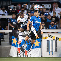 SAN JOSE, CA - AUGUST 13: Luciano Abecasis #2 of the San Jose Earthquakes heads the ball during a game between San Jose Earthquakes and Vancouver Whitecaps at PayPal Park on August 13, 2021 in San Jose, California.