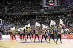 Real Madrid´s cheerleaders dancing during 2014-15 Euroleague Basketball Playoffs match between Real Madrid and Anadolu Efes at Palacio de los Deportes stadium in Madrid, Spain. April 15, 2015. (ALTERPHOTOS/Luis Fernandez)