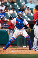 Buffalo Bisons catcher Josh Thole (17) checks the runner during a game against the Columbus Clippers on July 19, 2015 at Coca-Cola Field in Buffalo, New York.  Buffalo defeated Columbus 4-3 in twelve innings.  (Mike Janes/Four Seam Images)