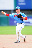 Pawtucket Red Sox second baseman Sean Coyle (3) during a game versus the Durham Bulls at McCoy Stadium in Pawtucket, Rhode Island on May 3, 2015.  (Ken Babbitt/Four Seam Images)