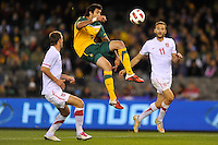 MELBOURNE, AUSTRALIA - JUNE 7: Rhys Williams of the Socceroos jumps for the ball during an international friendly match between the Qantas Australian Socceroos and Serbia at Etihad Stadium on June 7, 2011 in Melbourne, Australia. Photo by Sydney Low / AsteriskImages.com