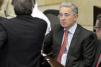 BOGOTA -COLOMBIA. 20-07-2014. Álvaro Uribe Vélez, durante la plenaria del Senado después de la instalación del Congreso de la República de Colombia por parte del presidente, Juan Manuel Santos en el Salón Elíptico del Capitolio Nacional./ Alvaro Uribe Velez during the Senatre plenary after the installation of the Congress of the Republic of Colombia by the president, Juan Manuel Santosat Salon Eliptico in the National Capitol. Photo: VizzorImage/ Gabriel Aponte / Staff
