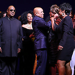 Stevie Wonder, Berry Gordy, Diana Ross, Mary Wilson & Gladys Knight during the Broadway Opening Night Performance Curtain Call for 'Motown The Musical'  at the Lunt Fontanne Theatre in New York City on 4/14/2013..