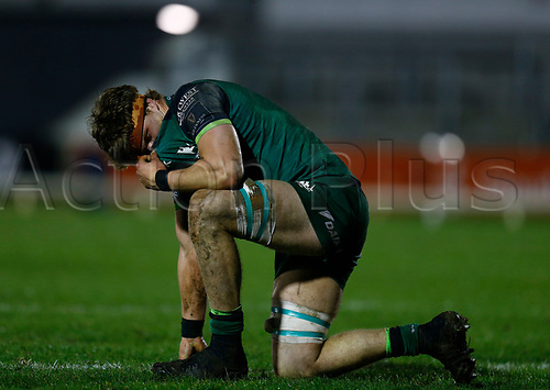 13th March 2021; Galway Sportsgrounds, Galway, Connacht, Ireland; Guinness Pro 14 Rugby, Connacht versus Edinburgh; Connacht flanker Cian Prendergast takes a breather between plays