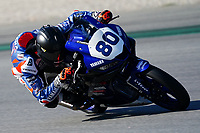 29th March 2021; Barcelona, Spain;  Superbikes, WorldSSP300 , day 1 testing at Circuit Barcelona-Catalunya; Gabriele Mastroluca (ITA) riding Yamaha YZF-R3 from ProGPRacing