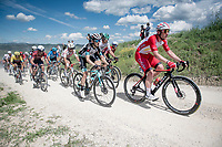 """Simone Consonni (ITA/Cofidis) on the first gravel sector of the stage<br /> <br /> 104th Giro d'Italia 2021 (2.UWT)<br /> Stage 11 from Perugia to Montalcino (162km)<br /> """"the Strade Bianche stage""""<br /> <br /> ©kramon"""