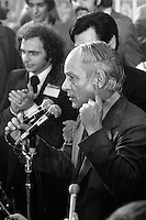 November 15 1976 File photo - Montreal (Qc) CANADA - Claude Charron (L) and other Candidates of the Parti Quebecois celebrate the 1976 victory with the party leader Rene Levesque , November 15 1976 at Centre Paul Sauve.