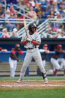 Tri-City ValleyCats left fielder Luis Payano (19) at bat during a game against the Batavia Muckdogs on July 14, 2017 at Dwyer Stadium in Batavia, New York.  Batavia defeated Tri-City 8-4.  (Mike Janes/Four Seam Images)