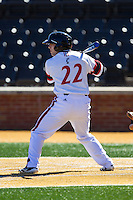 Matt Williams (22) of the Cincinnati Bearcats at bat against the Radford Highlanders at Wake Forest Baseball Park on February 22, 2014 in Winston-Salem, North Carolina.  The Highlanders defeated the Bearcats 6-5.  (Brian Westerholt/Four Seam Images)