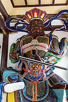 Wenzhou, China.  Jiangxin Buddhist Temple.  Zeng Zhang Tianwang, one of the four heavenly kings.  King of the South and God of the Wind.