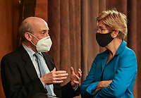 United States Securities and Exchange Commission (SEC) Chair Gary Gensler speaks with US Senator Elizabeth Warren (Democrat of Massachusetts) prior to testifying before a Senate Banking, Housing, and Urban Affairs Committee oversight hearing on the SEC on Capitol Hill in Washington, U.S., September 14, 2021. <br /> Credit: Evelyn Hockstein / Pool via CNP /MediaPunch