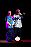 25 March 2019: Former Montreal Expo play-by-play radio announcer Jacques Doucet stands with former Expos Manager Filipe Alou during the pre-game ceremonies commemorating the 50-year anniversary of the Expos prior to an exhibition game between the Toronto Blue Jays and the Milwaukee Brewers at Olympic Stadium in Montreal, Quebec, Canada. The Brewers defeated the Blue Jays 10-5 in the first of two MLB pre-season games in the former home of the Montreal Expos. Mandatory Credit: Ed Wolfstein Photo *** RAW (NEF) Image File Available ***