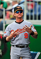 24 May 2009: Baltimore Orioles' catcher Gregg Zaun signals in the dugout during a game against the Washington Nationals at Nationals Park in Washington, DC. The Nationals rallied to defeat the Orioles 8-5 and salvage a win in their interleague series. Mandatory Credit: Ed Wolfstein Photo