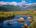 Rocky Mountain National Park, CO<br /> Morning sun Big Thompson Creek in Moraine Park