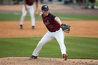 North Carolina Central Eagles relief pitcher Jake Eigner (33) in action against the North Carolina A&T Aggies at Durham Athletic Park on April 10, 2021 in Durham, North Carolina. (Brian Westerholt/Four Seam Images)