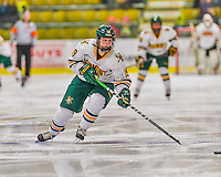 13 February 2015: University of Vermont Catamount Forward Brittany Zuback, a Senior from Thunder Bay, Ontario, in third period action against the University of New Hampshire Wildcats at Gutterson Fieldhouse in Burlington, Vermont. The Lady Catamounts fell to the visiting Wildcats 4-2 in the first game of their weekend Hockey East series. Mandatory Credit: Ed Wolfstein Photo *** RAW (NEF) Image File Available ***