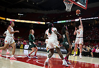 COLLEGE PARK, MD - FEBRUARY 03: Nia Clouden #24 of Michigan State watches a shot by Taylor Mikesell #11 of Maryland during a game between Michigan State and Maryland at Xfinity Center on February 03, 2020 in College Park, Maryland.