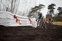Wout Van Aert (BEL/Crelan-Vastgoedservice) in the lead with Mathieu Van der Poel (NLD/BKCP-Corendon) in tow<br /> <br /> Men's Elite Race<br /> <br /> UCI 2016 cyclocross World Championships,<br /> Zolder, Belgium