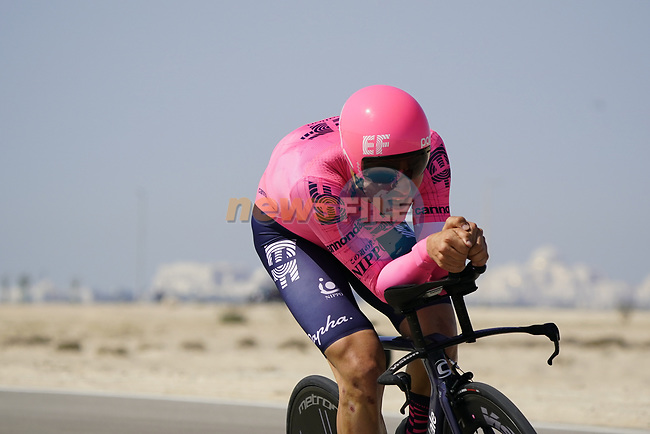Stefan Bissegger (SUI) EF Education-Nippo during Stage 2 of the 2021 UAE Tour an individual time trial running 13km around  Al Hudayriyat Island, Abu Dhabi, UAE. 22nd February 2021.  <br /> Picture: Eoin Clarke | Cyclefile<br /> <br /> All photos usage must carry mandatory copyright credit (© Cyclefile | Eoin Clarke)