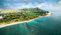 An aerial view of Waikiki, Kapi'olani Park, Kaimuki, Diamond Head and the Gold Coast after heavy rain, with Koko Head and Crater in the distance, O'ahu.