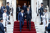 Pictured: (L-R) French President Emmanuel Macron is escorted by Greek Prime Minister Alexis Tsipras out of Maximos Mansion in Athens, Greece. Thurday 07 September 2017<br />